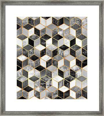 Black And White Cubes Framed Print by Elisabeth Fredriksson