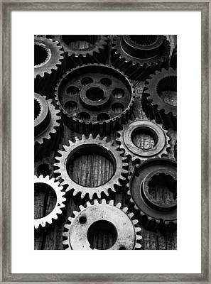 Black And White Gears Framed Print by Garry Gay
