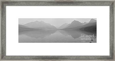 Black And White Lake Mcdonald Sunset Framed Print by Adam Jewell