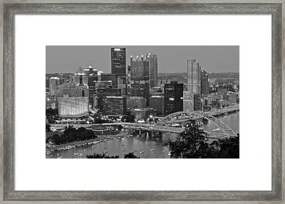 Black And White Of Pittsburgh Framed Print by Frozen in Time Fine Art Photography