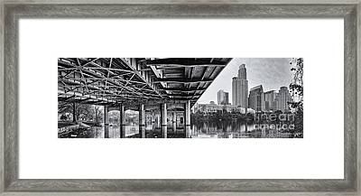 Black And White Panorama Of Downtown Austin Skyline Under The Bridge - Austin Texas  Framed Print by Silvio Ligutti