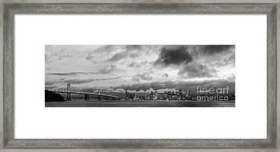 Black And White Panorama Of San Francisco Skyline And Oakland Bay Bridge From Treasure Island  Framed Print by Silvio Ligutti