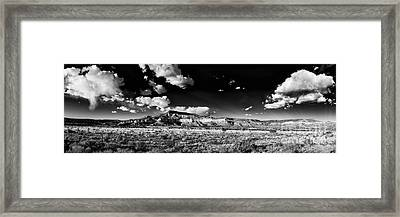 Black And White Panorama Of The Ghost Ranch Area A Tribute To The Master - Abiquiu New Mexico Framed Print by Silvio Ligutti