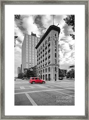 Black And White Photograph Of The Flatiron Building In Downtown Fort Worth - Texas Framed Print by Silvio Ligutti