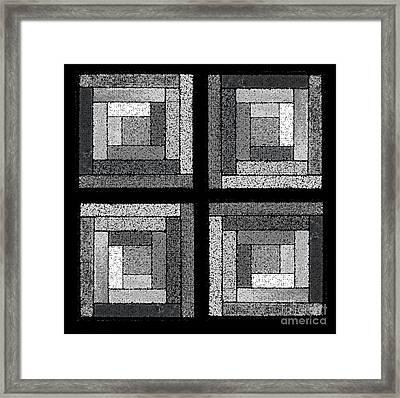 Black And White Quilt Squares Framed Print by Karen Adams