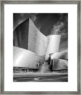 Black And White Rendition Of The Walt Disney Concert Hall - Downtown Los Angeles California Framed Print by Silvio Ligutti