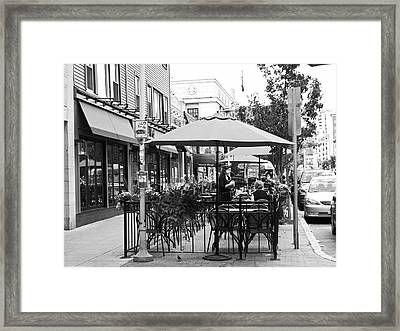 Black And White Sidewalk Cafe Framed Print by Mary Ann Weger