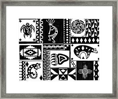 Black And White Southwest Sampler Framed Print by Susie WEBER