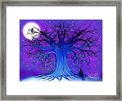 Black Cat And Night Owl Framed Print by Nick Gustafson