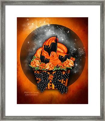 Black Cat Cupcake Framed Print by Carol Cavalaris