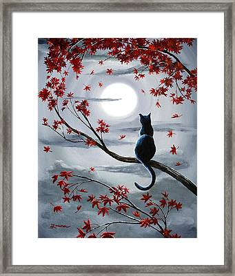 Black Cat In Silvery Moonlight Framed Print by Laura Iverson