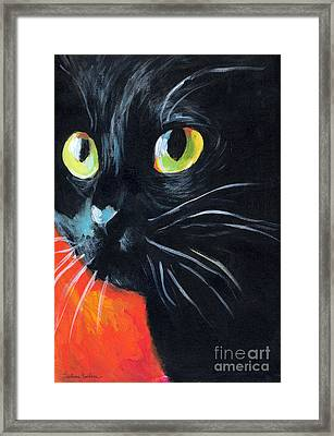 Black Cat Painting Portrait Framed Print by Svetlana Novikova
