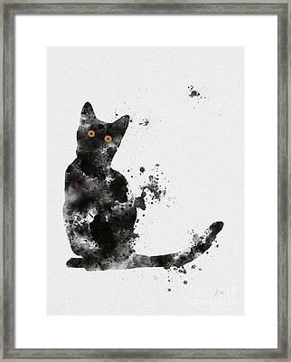 Black Cat Framed Print by Rebecca Jenkins