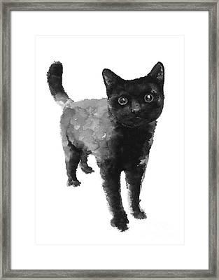 Black Cat Watercolor Painting  Framed Print by Joanna Szmerdt