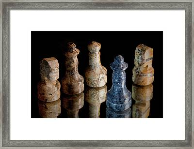 Black Chess King Defeated And Surrounded Framed Print by Marc Garrido