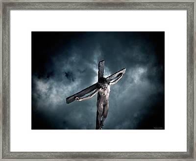Black Crucified Jesus Framed Print by Ramon Martinez