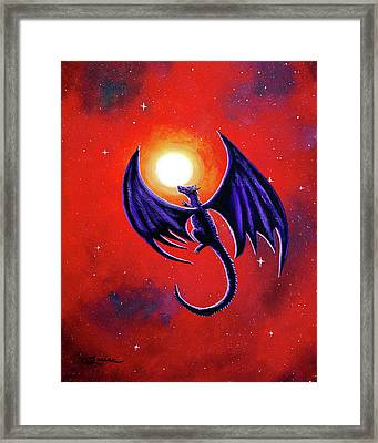 Black Dragon In A Red Sky Framed Print by Laura Iverson