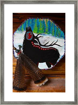 Black Elk Drum Painting Framed Print by Karon Melillo DeVega