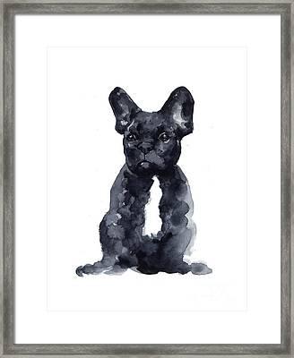 Black French Bulldog Watercolor Poster Framed Print by Joanna Szmerdt