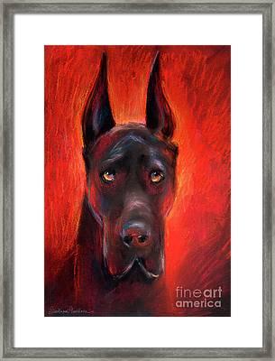 Black Great Dane Dog Painting Framed Print by Svetlana Novikova