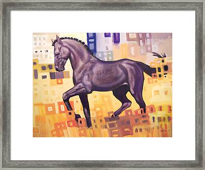 Black Horse Framed Print by Farhan Abouassali