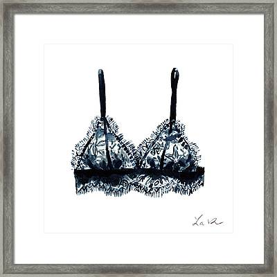 Black Lace Bralette 1 Boudoir Dressing Room Framed Print by Laura Row