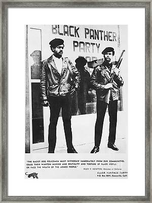 Black Panther Poster, 1968 Framed Print by Photo Researchers