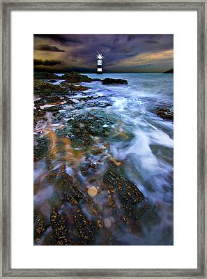 Black Point Light Framed Print by Meirion Matthias