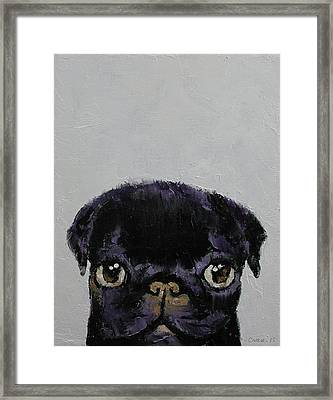 Black Pug Framed Print by Michael Creese