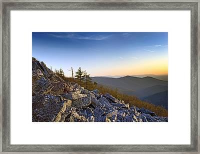 Black Rocks Summit In Shenandoah National Park Virginia At Sunset Framed Print by Brendan Reals
