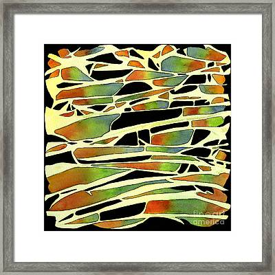 Black Sienna Green Blue Abstract Ink And Watercolor Design Framed Print by Sharon Freeman
