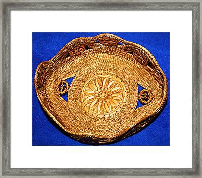 Black Walnut Laced Pine Needle Basket Framed Print by Russell  Barton