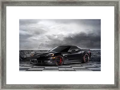 Black Z06 Corvette Framed Print by Peter Chilelli