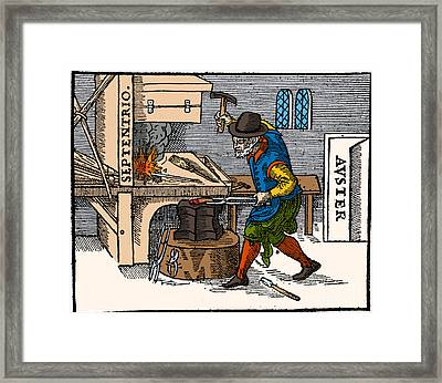 Blacksmith, 17th Century Illustration Framed Print by Science Source