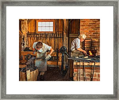 Blacksmith And Apprentice 3 - Paint Framed Print by Steve Harrington