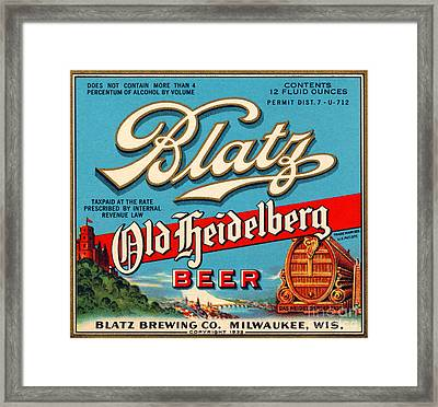 Blatz Old Heidelberg Vintage Beer Label Restored Framed Print by Carsten Reisinger