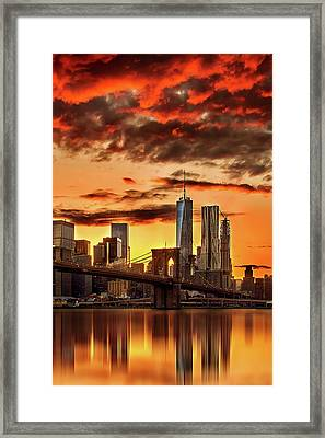 Blazing Manhattan Skyline Framed Print by Az Jackson