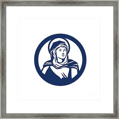 Blessed Virgin Mary Circle Retro Framed Print by Aloysius Patrimonio
