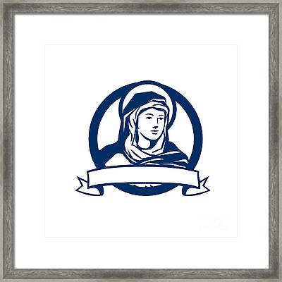 Blessed Virgin Mary Scroll Retro Framed Print by Aloysius Patrimonio