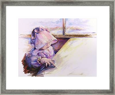 Blessing Psalm One Hundred And Seven Verse Nine Oil Painting Framed Print by Kim Guthrie