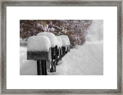 Blizzard Mailboxes Framed Print by Lori Deiter