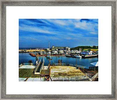 Block Island Marina Framed Print by Lourry Legarde