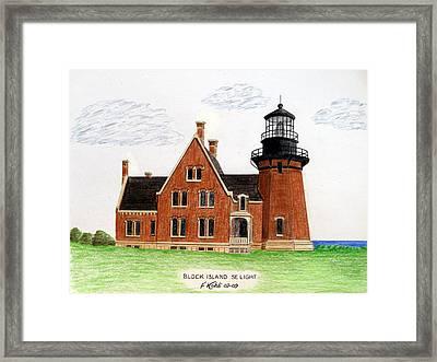 Block Island Se Lighthouse Framed Print by Frederic Kohli