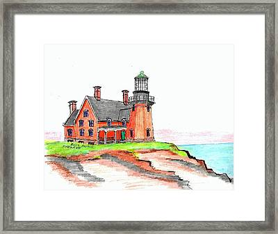 Block Island South Lighthouse Framed Print by Paul Meinerth