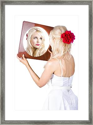 Blond Woman Looking In Mirror Framed Print by Jorgo Photography - Wall Art Gallery