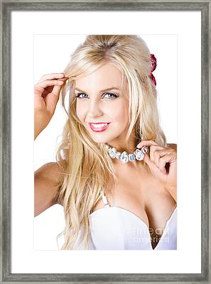 Blond Woman With Necklace Framed Print by Jorgo Photography - Wall Art Gallery
