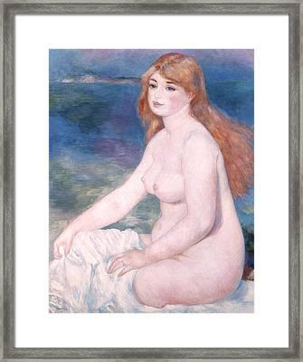 Blonde Bather II Framed Print by Renoir