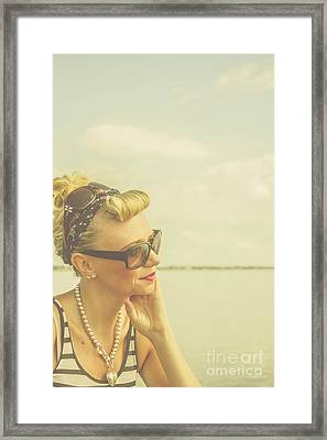 Blonde Pin Up Girl With Nostalgia Framed Print by Jorgo Photography - Wall Art Gallery
