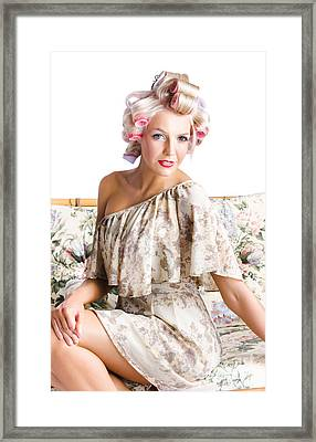 Blonde Woman In Curlers Framed Print by Jorgo Photography - Wall Art Gallery