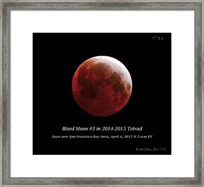 Blood Moon # 3 In Tetrad Framed Print by Brian Tada